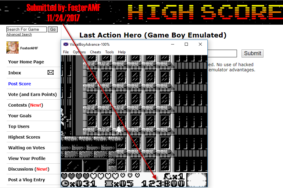 FosterAMF: Last Action Hero (Game Boy Emulated) 123,800 points on 2017-11-24 17:03:27