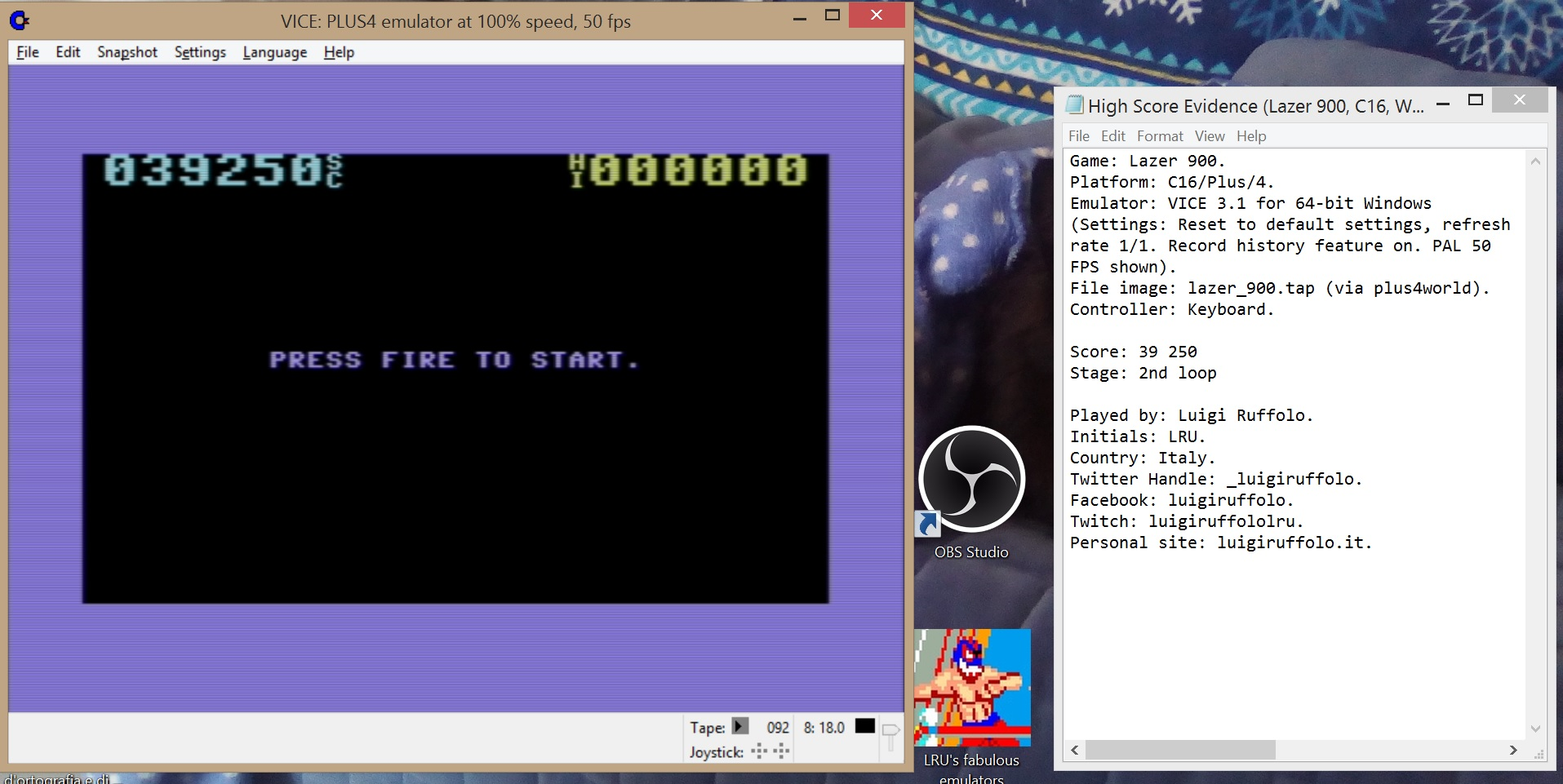 LuigiRuffolo: Lazer 900 (Commodore 16/Plus4 Emulated) 39,250 points on 2020-07-29 11:01:54