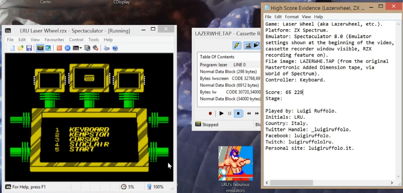 LuigiRuffolo: Lazer Wheel (ZX Spectrum Emulated) 65,229 points on 2020-06-17 08:11:36