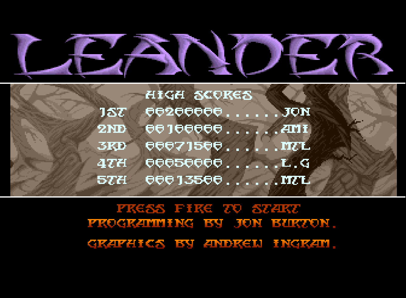 Mantalow: Leander [Normal: 5 Lives] (Amiga Emulated) 71,500 points on 2016-09-10 16:51:43