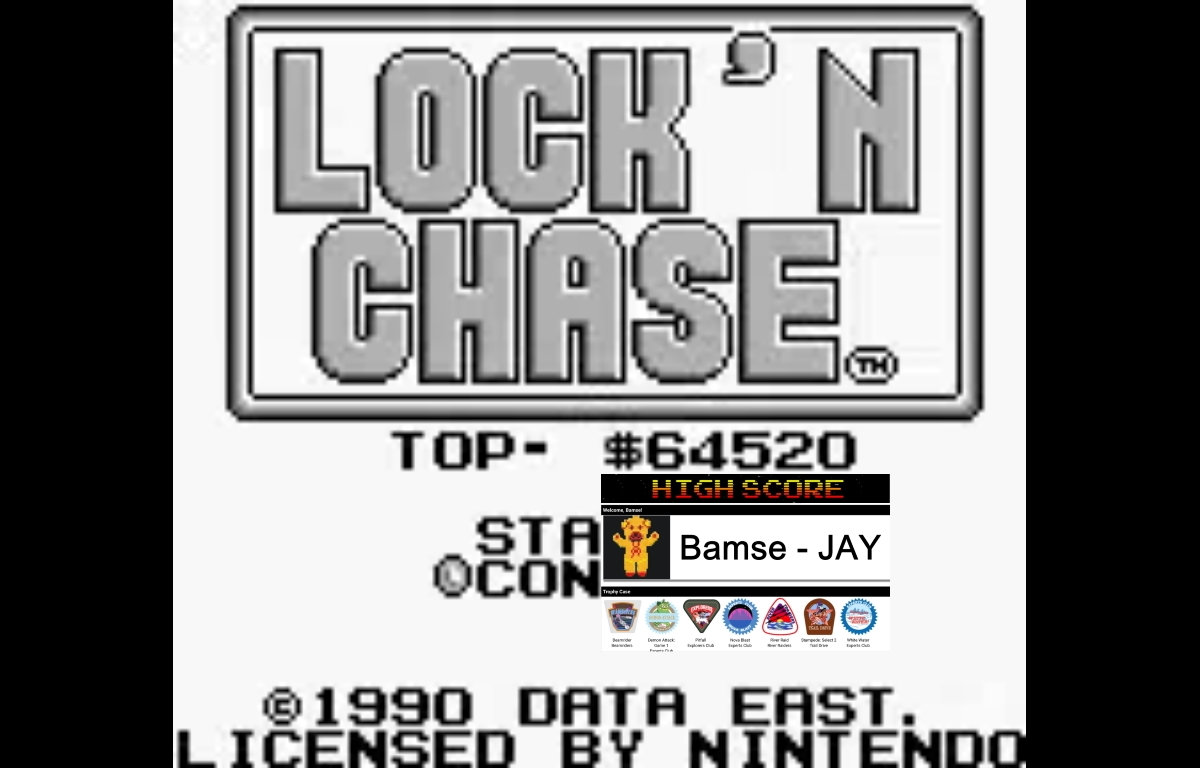 Bamse: Lock N Chase (Game Boy Emulated) 64,520 points on 2019-12-18 15:58:34