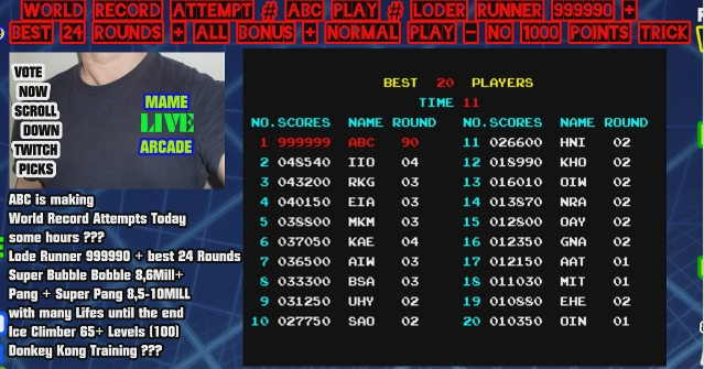 ArcadePlayerABC: Lode Runner (Arcade Emulated / M.A.M.E.) 999,999 points on 2020-04-12 10:32:00