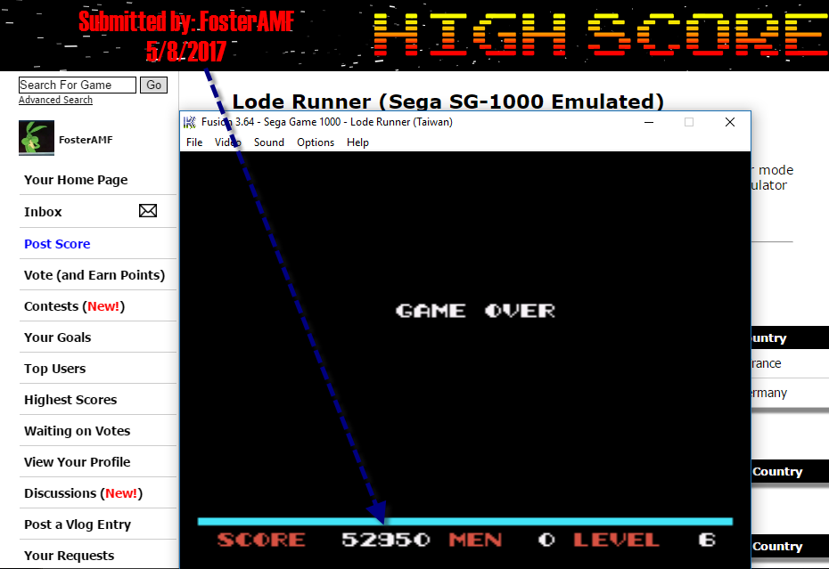 FosterAMF: Lode Runner (Sega SG-1000 Emulated) 52,950 points on 2017-05-08 20:59:02