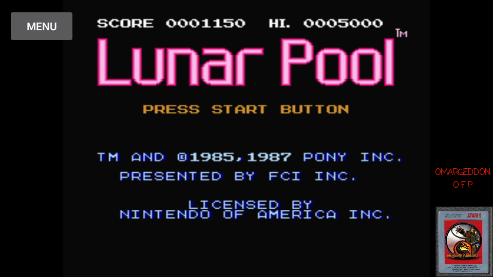 omargeddon: Lunar Pool (NES/Famicom Emulated) 1,150 points on 2017-03-15 21:56:02