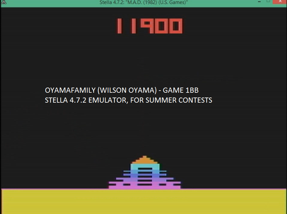 oyamafamily: M.A.D. (Atari 2600 Emulated Novice/B Mode) 11,900 points on 2016-08-02 19:12:37