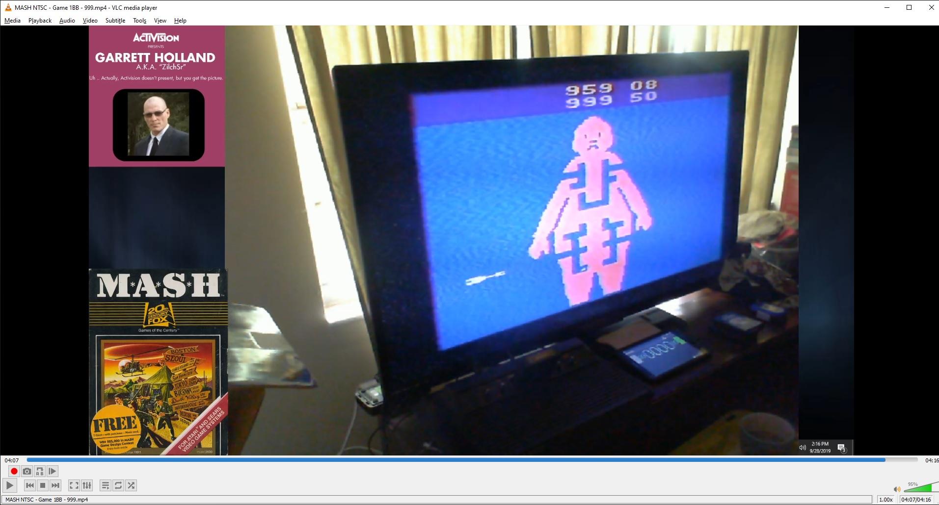 ZilchSr: MASH (Atari 2600 Novice/B) 999 points on 2019-09-29 16:18:10