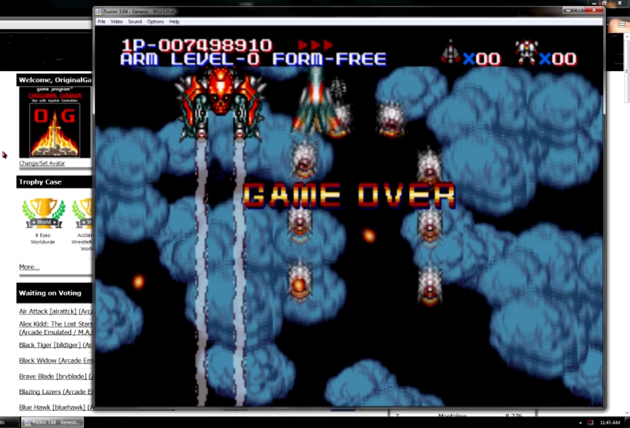 OriginalGamer: MUSHA: Metallic Uniframe Super Hybrid Armor [Normal] (Sega Genesis / MegaDrive Emulated) 7,498,910 points on 2015-06-20 18:04:43