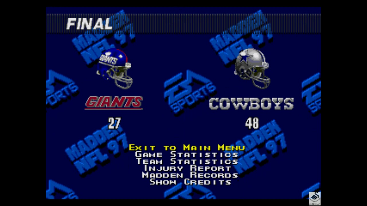 gazzhally: Madden NFL 97 [Point Difference] (Sega Genesis / MegaDrive Emulated) 21 points on 2019-05-29 16:14:02