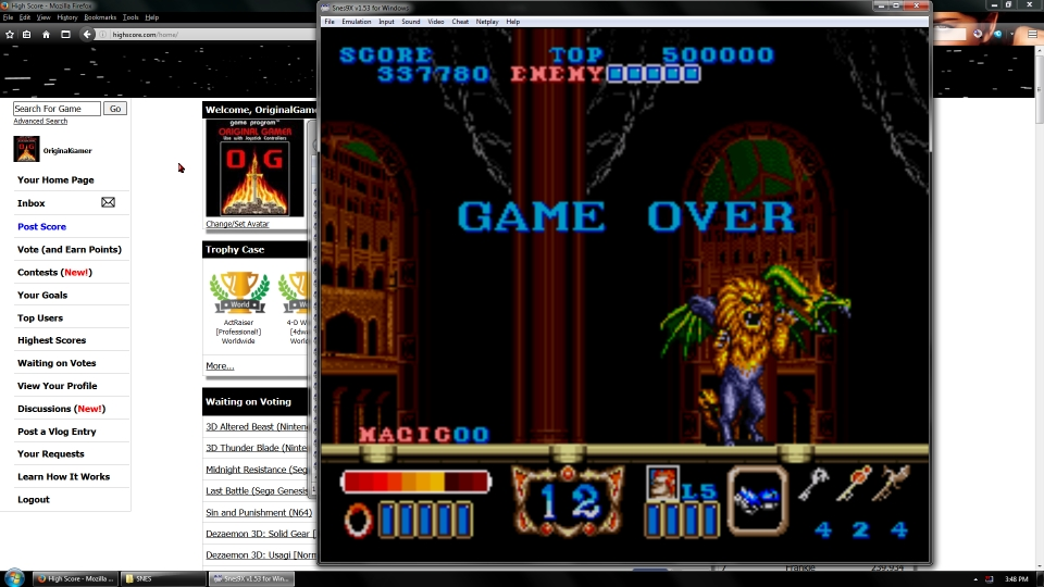 OriginalGamer: Magic Sword [Normal] (SNES/Super Famicom Emulated) 337,780 points on 2016-07-01 23:22:00