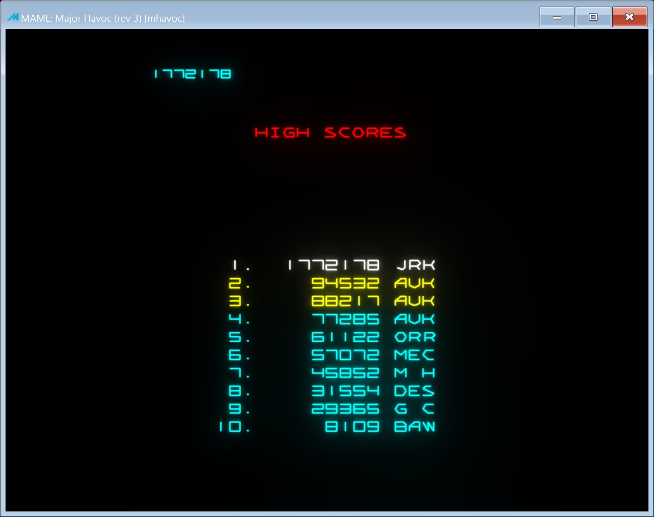 jerky: Major Havoc (Arcade Emulated / M.A.M.E.) 1,772,178 points on 2018-02-16 13:39:07