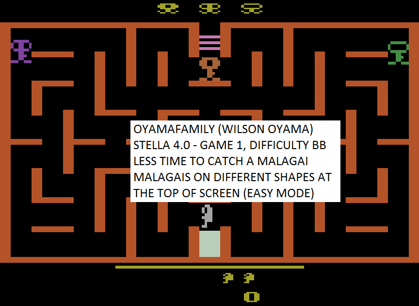 oyamafamily: Malagai: Game 1 (Atari 2600 Emulated Novice/B Mode) 3,500 points on 2015-08-01 05:51:13
