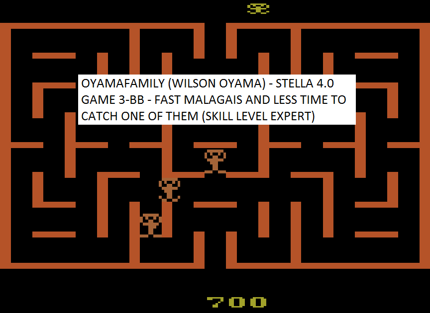 oyamafamily: Malagai: Game 3 (Atari 2600 Emulated Novice/B Mode) 700 points on 2015-08-03 20:57:25
