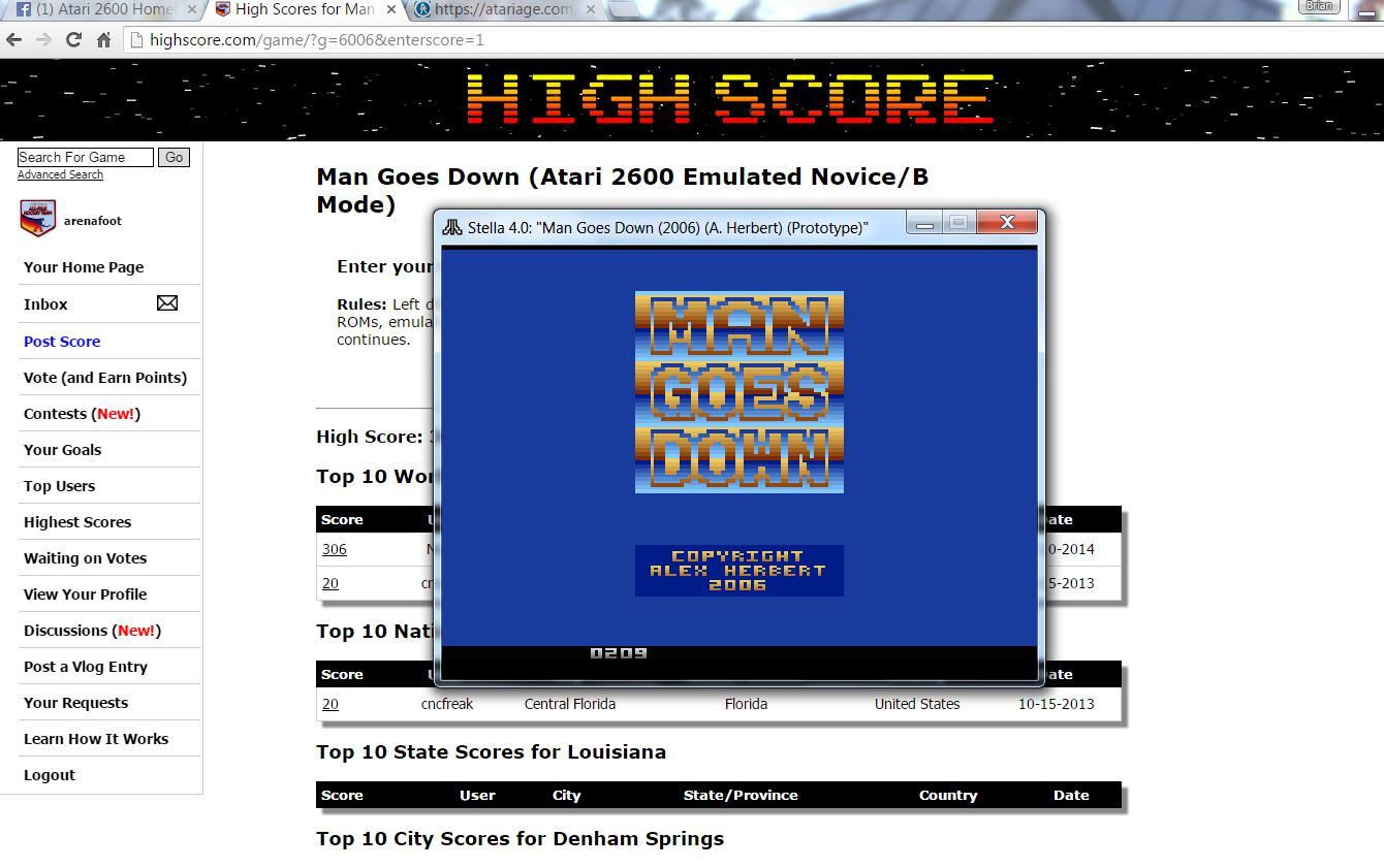 arenafoot: Man Goes Down (Atari 2600 Emulated Novice/B Mode) 209 points on 2016-06-26 20:40:10