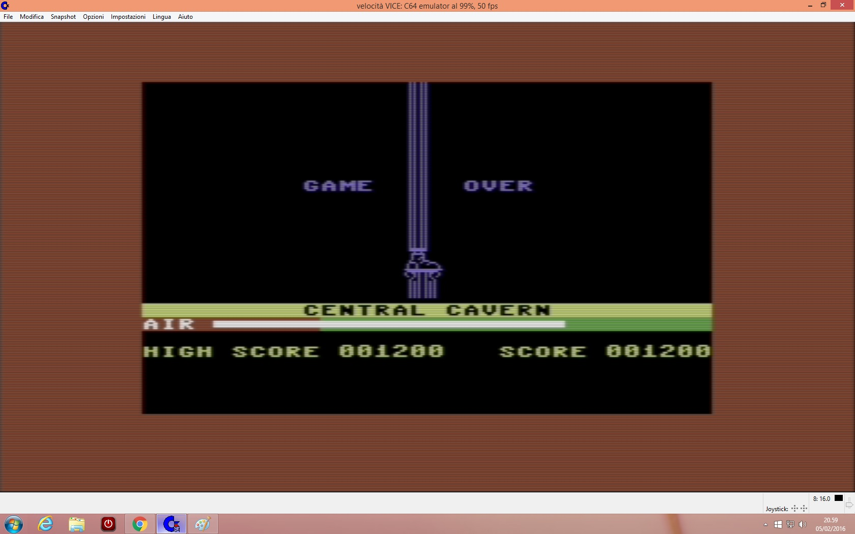 lenny2571: Manic Miner (Commodore 64 Emulated) 1,200 points on 2016-02-05 14:00:24
