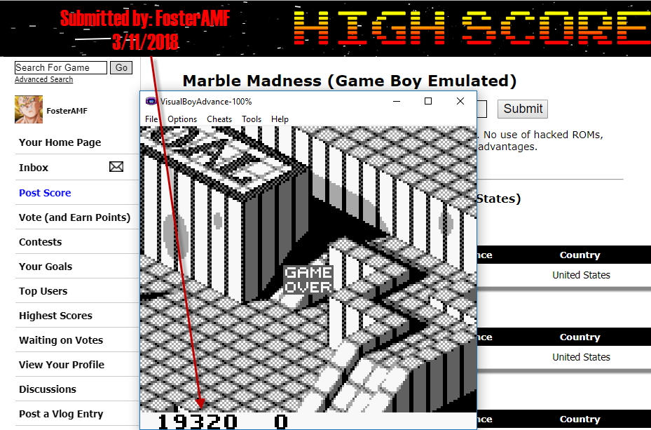 FosterAMF: Marble Madness (Game Boy Emulated) 19,320 points on 2018-03-11 17:26:15