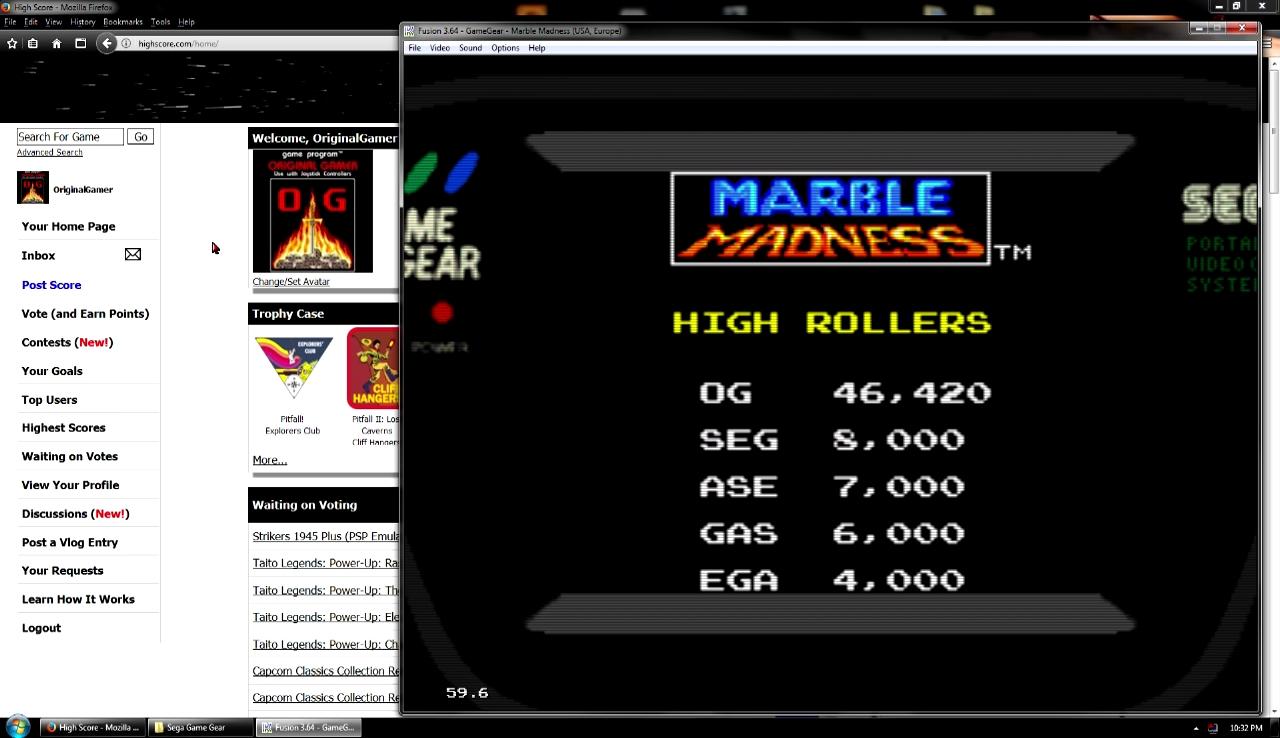 OriginalGamer: Marble Madness (Sega Game Gear Emulated) 46,420 points on 2018-02-19 19:09:34