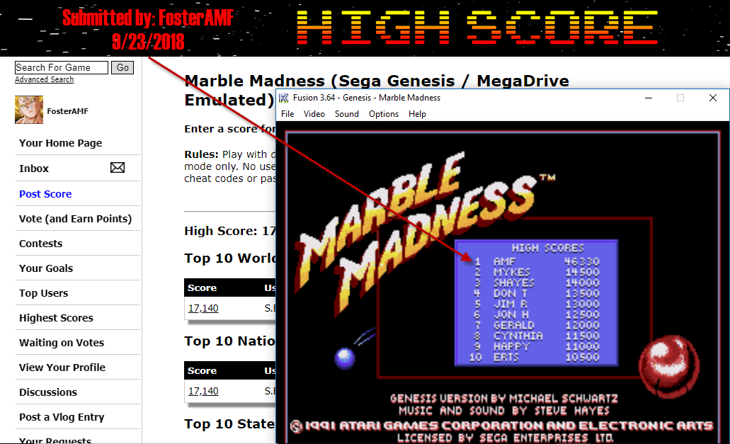FosterAMF: Marble Madness (Sega Genesis / MegaDrive Emulated) 46,330 points on 2018-09-23 18:13:46