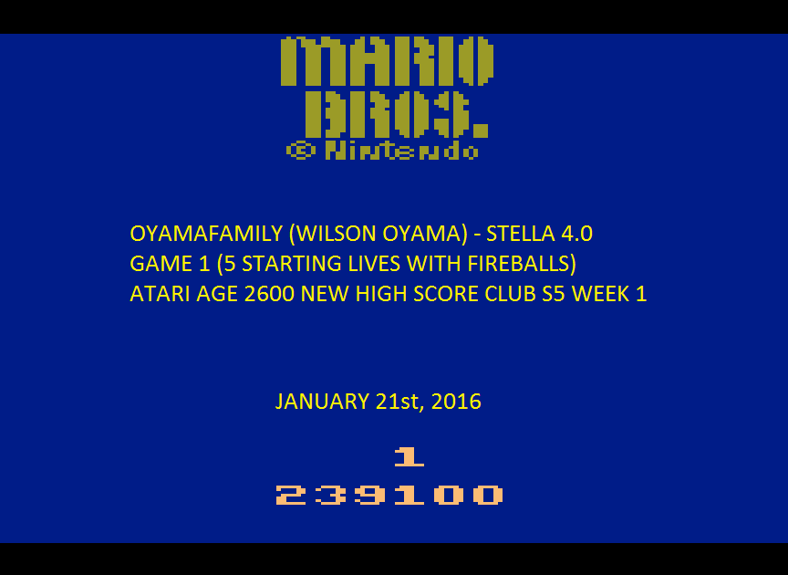 oyamafamily: Mario Bros (Atari 2600 Emulated) 239,100 points on 2016-01-24 11:58:34