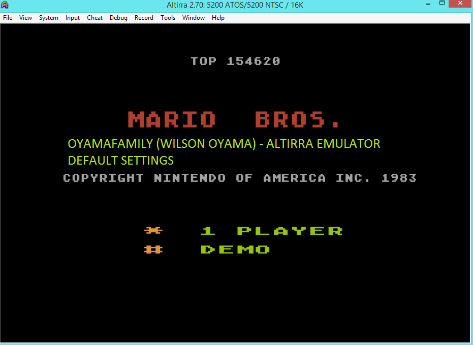 oyamafamily: Mario Bros (Atari 5200 Emulated) 154,620 points on 2016-03-13 06:03:04