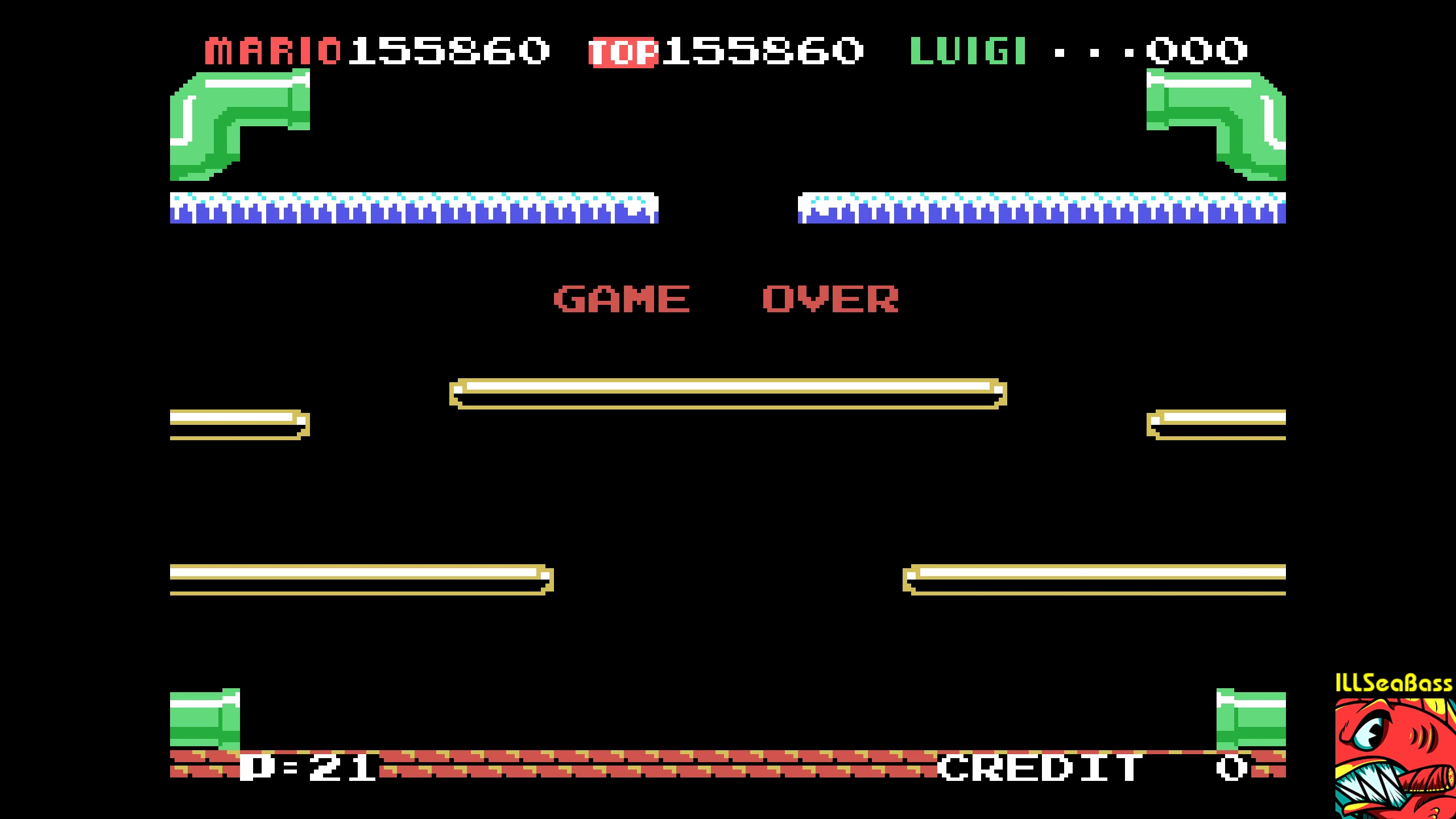 ILLSeaBass: Mario Bros (Colecovision Emulated) 155,860 points on 2018-02-03 01:07:24