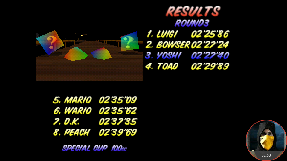 omargeddon: Mario Kart 64: Banshee Boardwalk [100cc] (N64 Emulated) 0:02:27.4 points on 2018-02-05 00:58:35