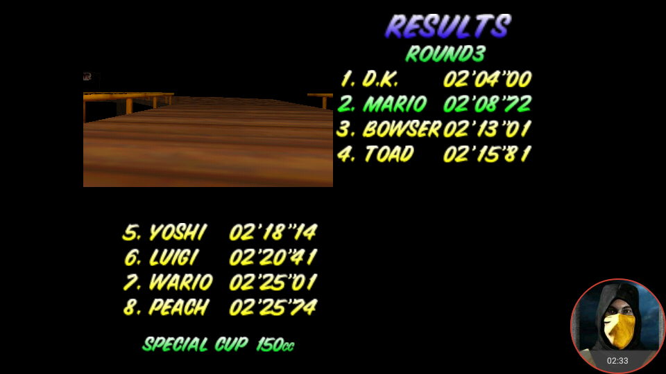 omargeddon: Mario Kart 64: Banshee Boardwalk [150cc] (N64 Emulated) 0:02:08.72 points on 2018-02-10 18:27:26