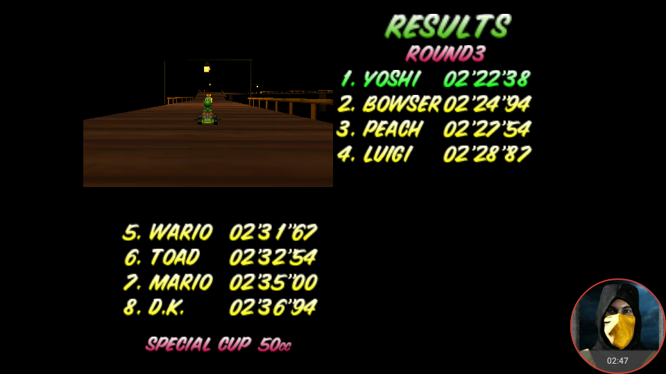 omargeddon: Mario Kart 64: Banshee Boardwalk [50cc] (N64 Emulated) 0:02:22.38 points on 2018-02-02 18:52:16