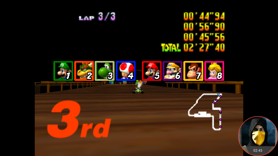 omargeddon: Mario Kart 64: Banshee Boardwalk [Lap Time] [100cc] (N64 Emulated) 0:00:44.94 points on 2018-02-05 00:59:36