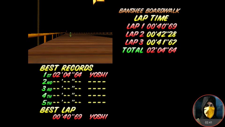 omargeddon: Mario Kart 64: Banshee Boardwalk [Time Trial] (N64 Emulated) 0:02:04.64 points on 2018-02-22 13:17:09