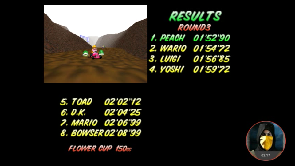 omargeddon: Mario Kart 64: Choco Mountain [150cc] (N64 Emulated) 0:01:52.9 points on 2018-02-07 10:35:52