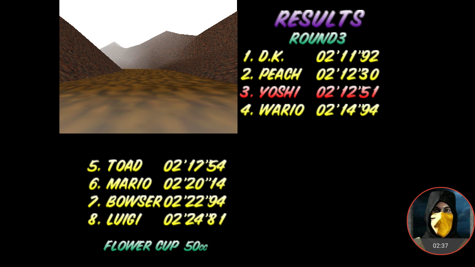omargeddon: Mario Kart 64: Choco Mountain [50cc] (N64 Emulated) 0:02:12.51 points on 2018-01-24 23:28:28