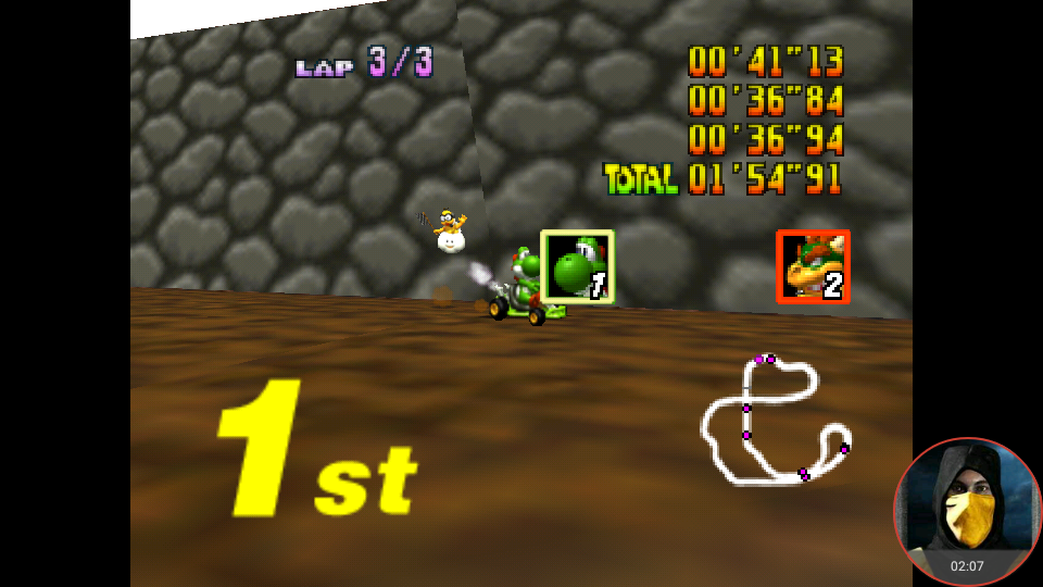 omargeddon: Mario Kart 64: Choco Mountain [Lap Time] [100cc] (N64 Emulated) 0:00:36.84 points on 2018-02-03 12:02:33