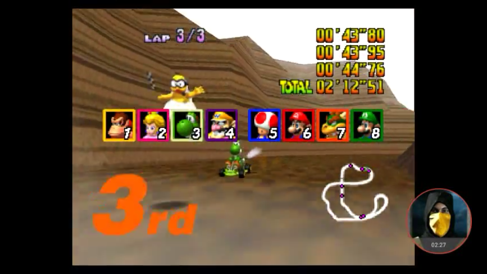 omargeddon: Mario Kart 64: Choco Mountain [Lap Time] [50cc] (N64 Emulated) 0:00:43.8 points on 2018-01-31 18:09:39