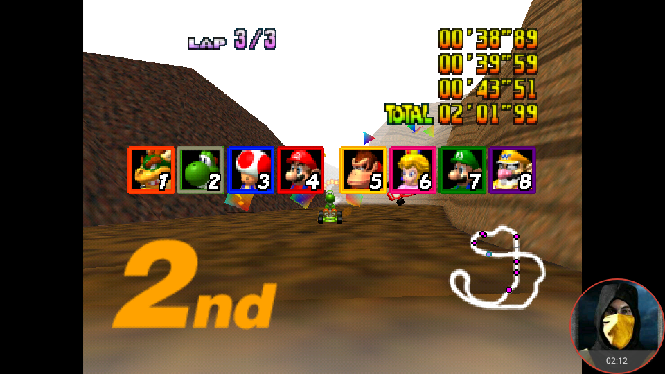 omargeddon: Mario Kart 64: Choco Mountain [Lap Time] [Extra] (N64 Emulated) 0:00:38.89 points on 2018-05-15 11:56:51