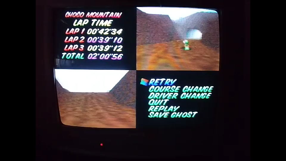 omargeddon: Mario Kart 64: Choco Mountain [Time Trial] [Lap Time] (N64) 0:00:39.1 points on 2020-04-22 14:55:40