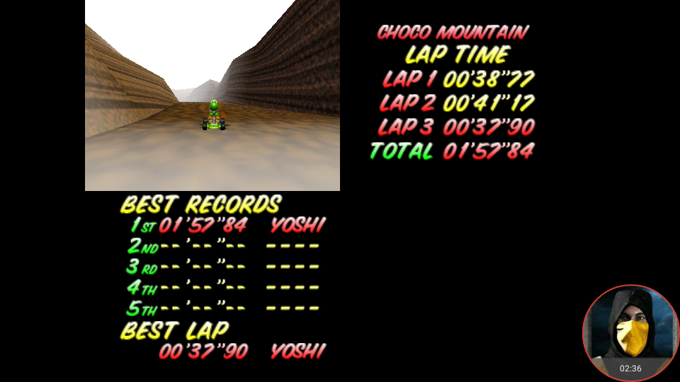 omargeddon: Mario Kart 64: Choco Mountain [Time Trial] (N64 Emulated) 0:01:57.84 points on 2018-02-22 12:40:14