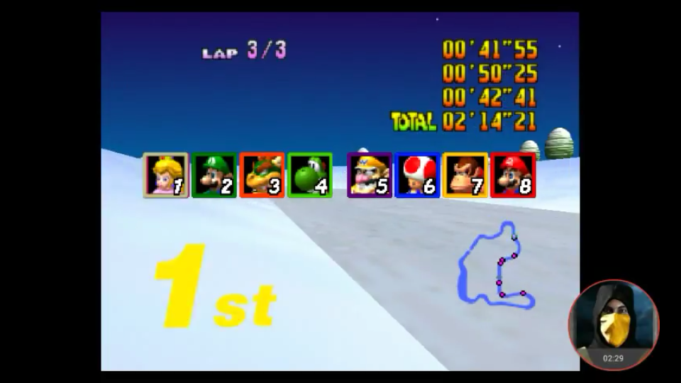 omargeddon: Mario Kart 64: Frappe Snowland [150cc] (N64 Emulated) 0:02:14.21 points on 2018-02-07 10:34:07