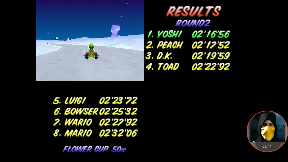 omargeddon: Mario Kart 64: Frappe Snowland [50cc] (N64 Emulated) 0:02:16.56 points on 2018-01-23 19:25:38