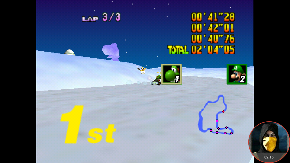 omargeddon: Mario Kart 64: Frappe Snowland [Lap Time] [100cc] (N64 Emulated) 0:00:40.76 points on 2018-02-03 11:58:49