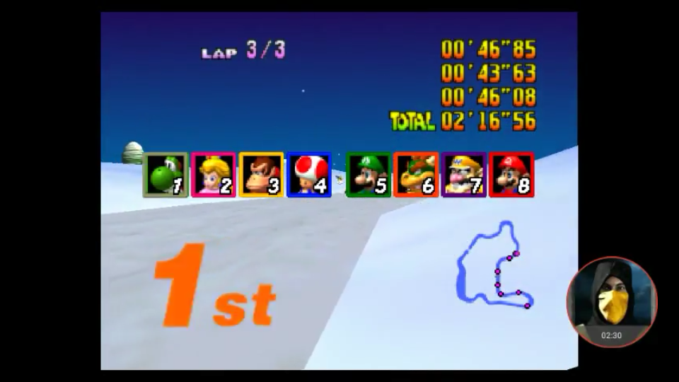 omargeddon: Mario Kart 64: Frappe Snowland [Lap Time] [50cc] (N64 Emulated) 0:00:43.63 points on 2018-01-31 18:43:12