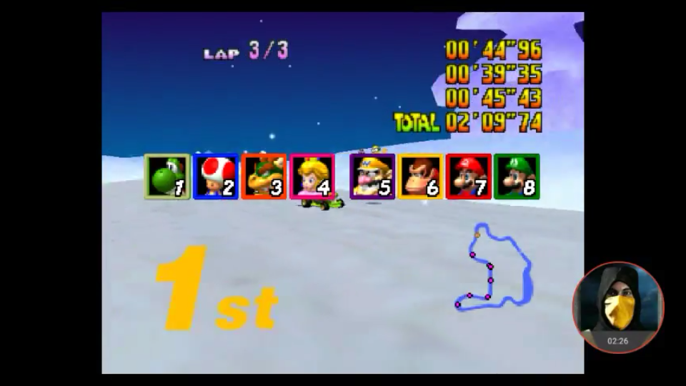 omargeddon: Mario Kart 64: Frappe Snowland [Lap Time] [Extra] (N64 Emulated) 0:00:39.35 points on 2018-02-25 18:49:36