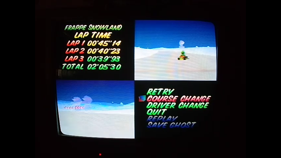 omargeddon: Mario Kart 64: Frappe Snowland [Time Trial] [Lap Time] (N64) 0:00:39.93 points on 2020-04-22 14:53:52