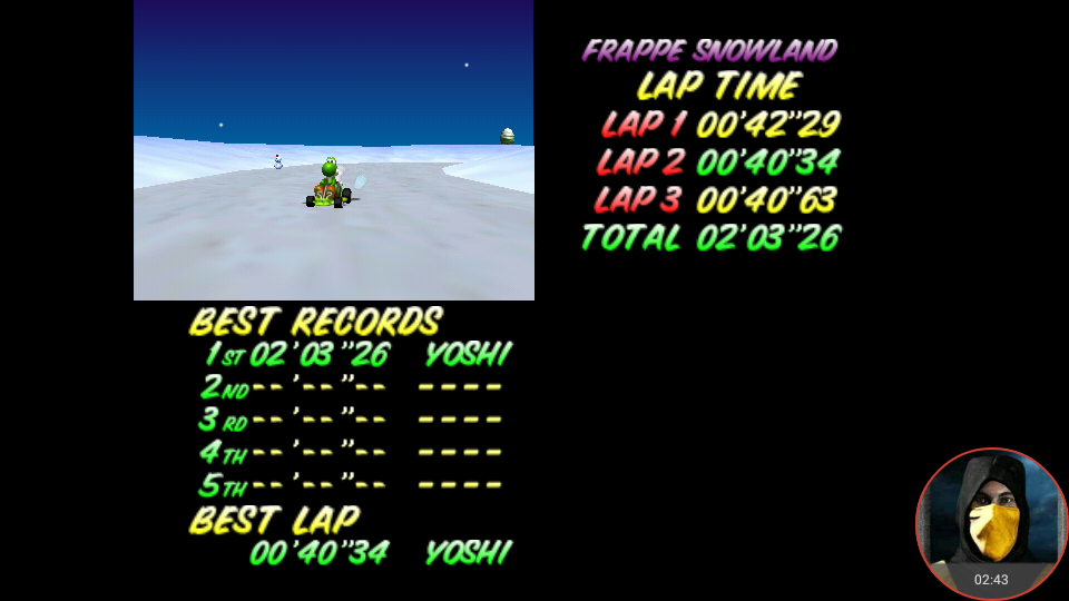 omargeddon: Mario Kart 64: Frappe Snowland [Time Trial] (N64 Emulated) 0:02:03.26 points on 2018-02-19 11:41:03