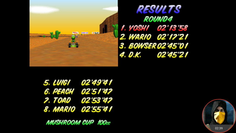 omargeddon: Mario Kart 64: Kalimari Desert [100cc] (N64 Emulated) 0:02:13.58 points on 2018-02-03 10:54:51