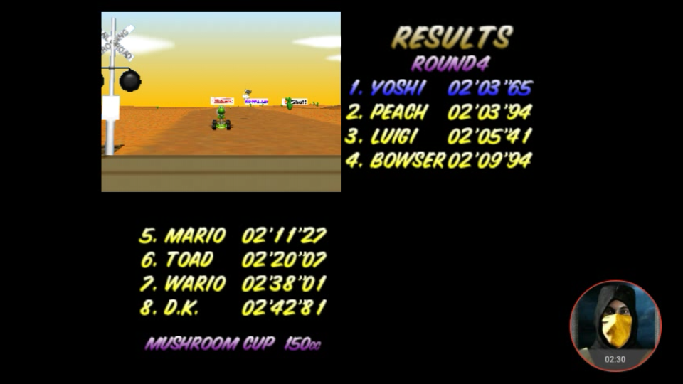 omargeddon: Mario Kart 64: Kalimari Desert [150cc] (N64 Emulated) 0:02:03.65 points on 2018-02-07 10:30:47