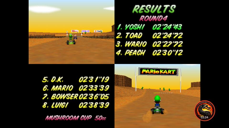 omargeddon: Mario Kart 64: Kalimari Desert [50cc] (N64 Emulated) 0:02:24.43 points on 2020-12-24 15:24:36