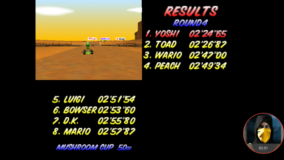 omargeddon: Mario Kart 64: Kalimari Desert [50cc] (N64 Emulated) 0:02:24.65 points on 2018-01-25 00:55:17