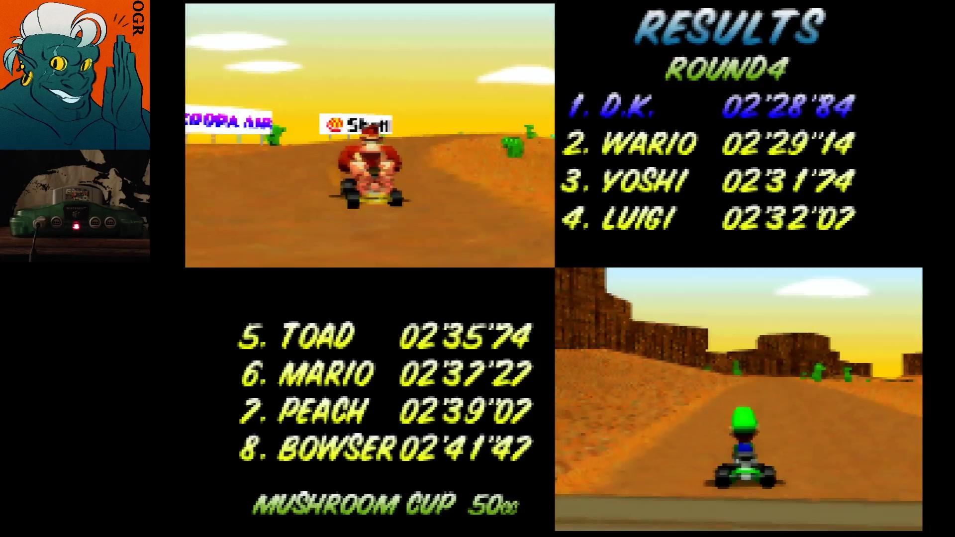 AwesomeOgre: Mario Kart 64: Kalimari Desert [50cc] (N64) 0:02:28.84 points on 2020-03-12 20:15:04