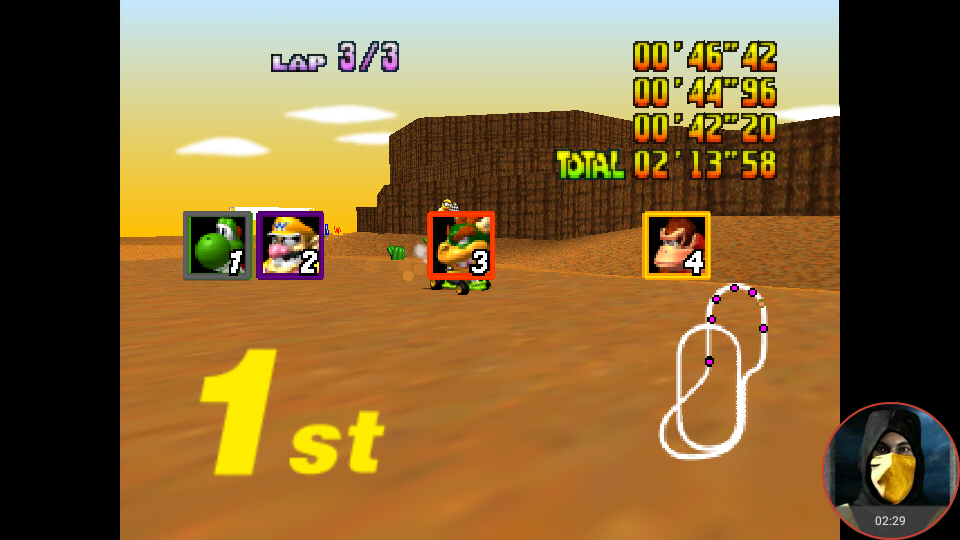 omargeddon: Mario Kart 64: Kalimari Desert [Lap Time] [100cc] (N64 Emulated) 0:00:42.2 points on 2018-02-03 10:55:44
