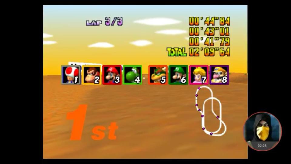 omargeddon: Mario Kart 64: Kalimari Desert [Lap Time] [Extra] (N64 Emulated) 0:00:41.79 points on 2018-02-25 18:47:42